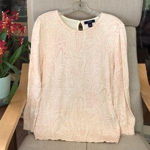 Knit keyhole back pink paisley sweater
